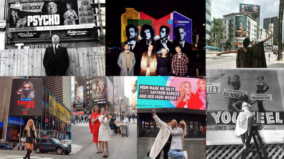 Celebrities in front of their Out of Home (OOH) billboards