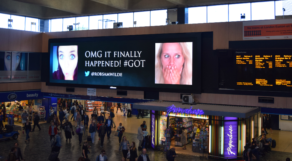 Game of Thrones Broadcasts Fan-Reactions in UGC Powered Digital OOH Campaign