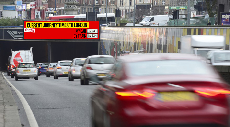 Virgin Trains in OOH 'First' With Ads That Use Traffic and Geo Data to Compare Journey Times